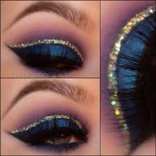 this arabic inspired eye makeup look uses gold glitters for the crease and dark