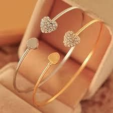 Women's Crystal <b>Love</b> Heart Hand Cuff Open Bracelet Bangle Gold ...