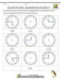 Clock Worksheets Quarter Past and Quarter toQuarter Past & To Sheet 4 ...