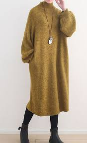 stylish yellow <b>sweater dress</b> oversized high neck <b>spring</b> dress in ...