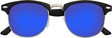 Retro <b>Fashion Half Frame</b> Flash Mirror Semi Rimless Horned Rim ...