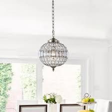 "Georgina <b>12</b>"" Crystal/Metal <b>LED</b> Chandelier Pendant, Antique <b>Brass</b> ..."