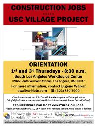 construction jobs communities usc usc village flyer spanish usc village
