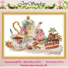 joy sunday afternoon tea 6 counted cross stitch kits for embroidery kit 11 14ct printed canvas diy crafts needlework dmc threads