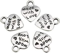 100 Pcs Love Heart Charm