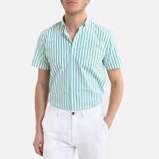 Рубашка <b>прямая</b> в полоску в полоску белый/зеленый <b>La Redoute</b> ...