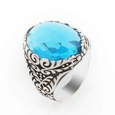 Мужское <b>серебряное кольцо с синим</b> большим овальным ...