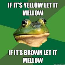If it's yellow let it mellow If it's brown let it mellow - Foul ... via Relatably.com