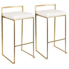 Lumisource Fuji Gold and White <b>Stackable Barstool</b> (Set of <b>2</b>), White ...