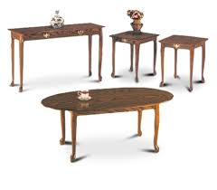 4 <b>Piece</b> Oak Finish <b>Coffee Table</b>, <b>2</b> End Tables, Sofa Table Set ...