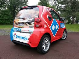 domino s smart car wrap quakertown pa signs banners lettering wraps domino s smart car wrap