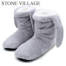 STONE VILLAGE <b>Winter Women Slippers</b> Soft Plush Warm Home ...