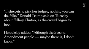 「Donald Trump Suggests 'Second Amendment People' Could Act Against Hillary Clinton.」の画像検索結果