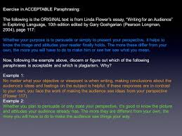 quote of the day why and how do i respond the statement you exercise in acceptable paraphrasing the following is the original text is from linda flower s essay