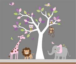 tree wall decor art youtube: baby room wall decorations makipera endearing design baby nursery wall decals grey wall base paint color white tree wall decals with pink purple green leaves cute jungle animals wall decals with cute birds nursery wall decor home decor