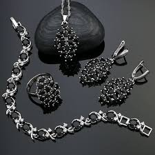 925 Sterling Silver Punk Jewelry Sets Party Accessories Black Cubic ...