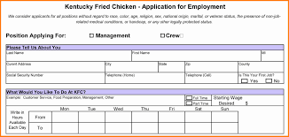 kfc job application form ledger paper fried chicken kfc job application printable job employment forms