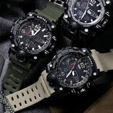 SMAEL <b>Mens</b> Sport <b>Military Watch LED</b> Dual Display Electronic ...