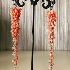 @natalyjewelryart Long pink coral earrings Длинные коралловые ...