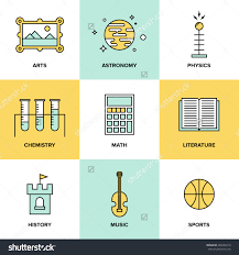 flat line icons set education main stock vector  flat line icons set of education main subjects schooling symbol and learning elements studying