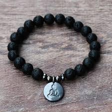 Men Black <b>Lava Natural Stone</b> Rosary Bracelet Black Lotus Buddha ...