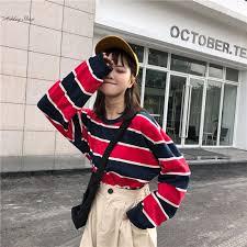 <b>Autumn Korean Fashion</b> Stripe Long Sleeve T-shirts <b>Women</b> ...