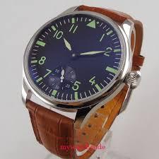 <b>44mm parnis black dial</b> green luminous sea gull 6498 hand winding ...