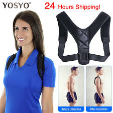 YOSYO Brace Support Belt <b>Adjustable</b> Back <b>Posture Corrector</b> ...