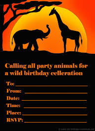 printable birthday invitations many fun themes st birthday printable kids birthday invite african safari theme an elephant and giraffe silhouette