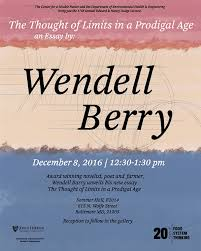 wendell berry to speak in baltimore on mr wb dodge lecture 12 8 16 wendell berry