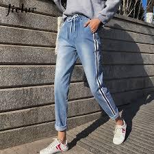 <b>Jielur</b> Jeans Woman Stripe High Waist Jeans <b>S 5XL</b> Pantalon Mom ...