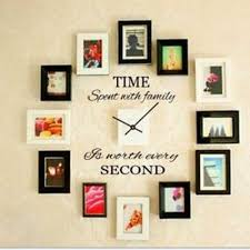 home wall decor clock time spent with family quote wall decoration letters vinyl home wall d