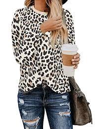 BTFBM <b>Women's Leopard</b> Print Long Sleeve Crew Neck Fit Casual ...