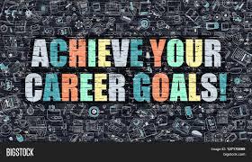 multicolor concept achieve your career goals on dark brick wall multicolor concept achieve your career goals on dark brick wall doodle icons achieve