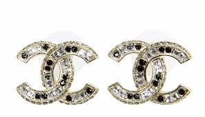 authentic 2015 chanel gold black large cc crystal classic earrings new authentic black crystal