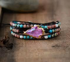 <b>New</b> Wrap <b>Bracelet Natural Stones</b> Gilded Arrowhead Quartz Charm ...