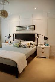 bedroom paneling ideas: wall paneling ideas bedroom contemporary with bedside table blue and brown decorative pillows
