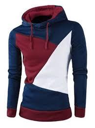 <b>IZZUMI Stylish</b> Color Block Spliced Slim Fit Long Sleeve Hoodies ...