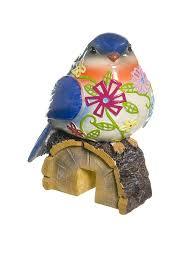 <b>Фигурка</b> птичка на пеньке для <b>горшка</b>, полирезина, 8.5*6.5*12 см