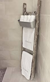 bathroom quot mission linen: whimsy girl design master bathroom old rustic ladder used as towel rack with galvanized