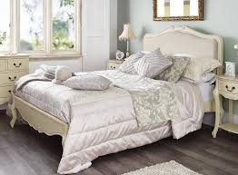 bedroom furniture cream roce shabby chic chagne painted 5ft king size bed with upholstered headboard 23295 bedroom furniture shabby chic