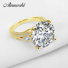AINUOSHI 10K Solid Yellow <b>Gold Wedding Ring Luxury</b> Brilliant 13 ...