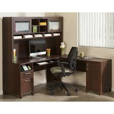l shaped brown polished wooden amusing corner office desk elegant