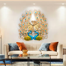 AUGIENB 3D Peacock 12h <b>Wall</b> Clock <b>Large</b> Accurate <b>Metal</b> Art ...