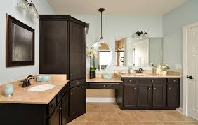 gorgeous dark brown aristokraft cabinets with cream countertop and sink plus mirror for bathroom furniture ideas brown bathroom furniture