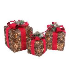 15 in. Assorted Electric Lighted <b>Natural</b> Vine Gift Boxes with Burlap ...