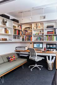 office contemporary study room idea in dc metro with carpet a built in desk and white banker office space