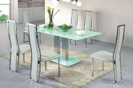 metal dining room chairs chrome: contemporary dining table with glass top and bas with rectangular shaped and also two steel legs