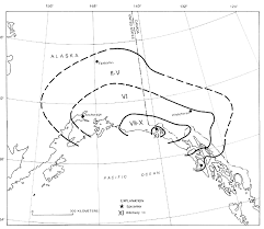 Isoseismal Map for the 1964 Great Alaska Earthquake