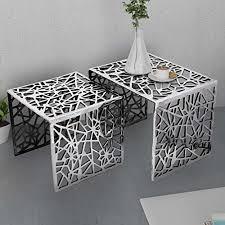 vidaXL Two Piece <b>Side Tables Square Aluminium</b> Silver - Buy ...
